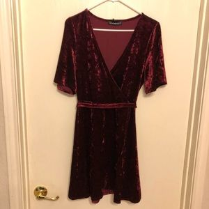 Wine Color Stretchy Velvet Dress